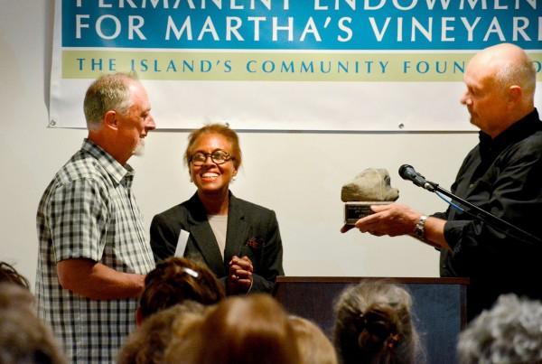 Steve Ewing receiving the Creative Living Award 2014