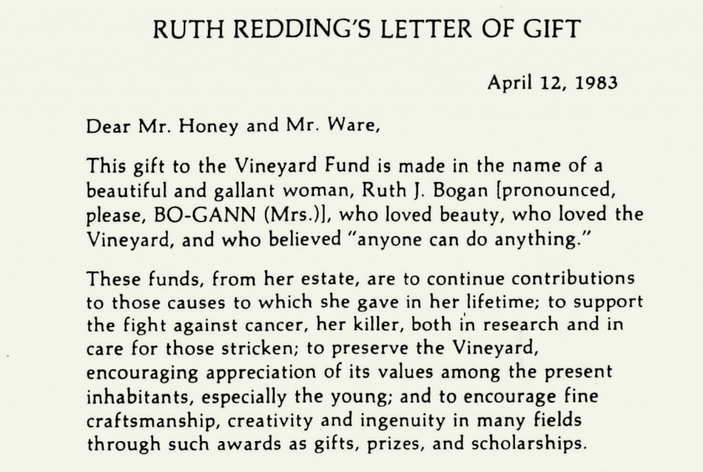 Ruth Redding's letter of gift