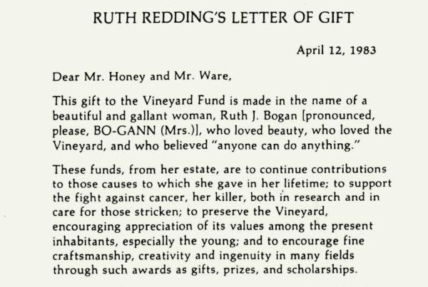 Ruth Redding's letter of gift
